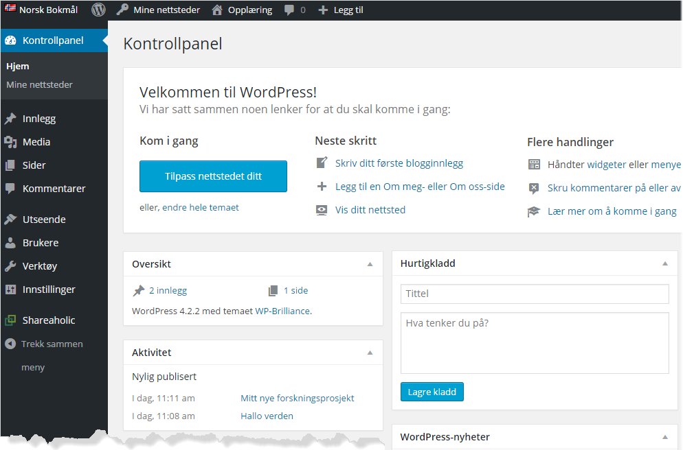 Wordpress kontrollpanel