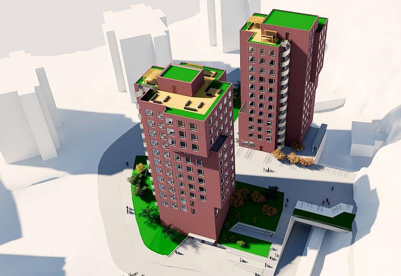 Arkitektskisse over to tårn i Røverdalen, Gjøvik. Illustrasjon.